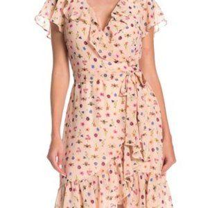 Betsey Johnson bugs pink wrap ruffle dress size 12